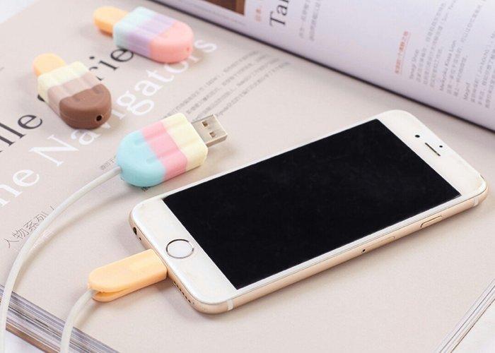 天使熊雜貨小舖~日本帶回雪糕iPhone充電線保護器 現貨3款 ~全新現貨~