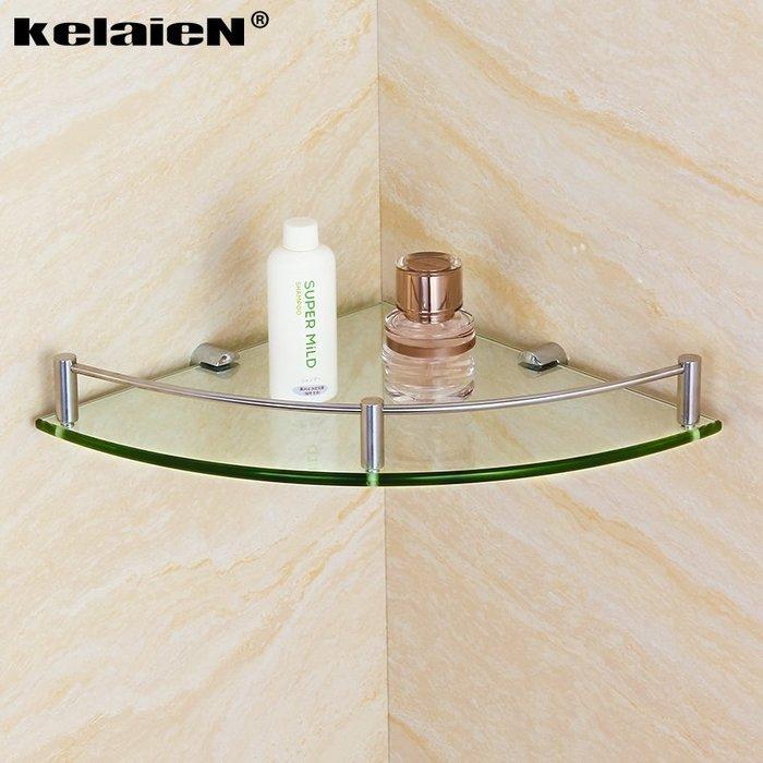 收納世家 浴室收納kelaien 304不銹鋼玻璃三角架 單層浴室轉角架衛浴壁掛收納置物架