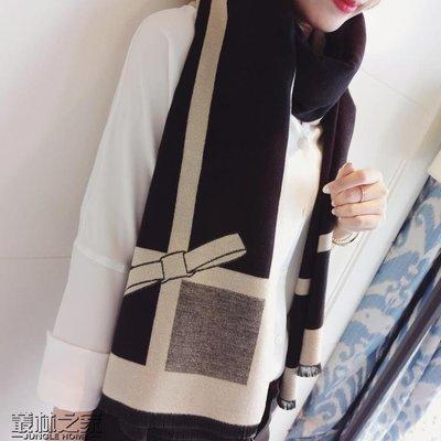 韓國秋冬季仿羊絨圍巾女蝴蝶結超大雙面披肩兩用保暖圍脖 尚美優品