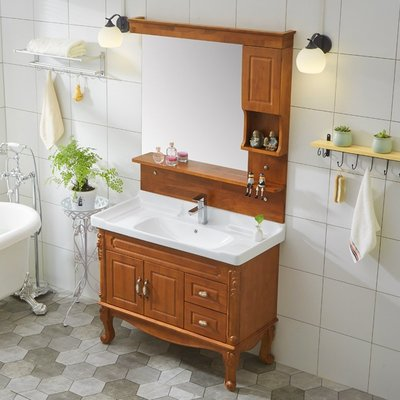 橡木浴室櫃組合落地式實木歐式衛浴櫃衛生間洗臉臺洗手池洗漱臺 MKS
