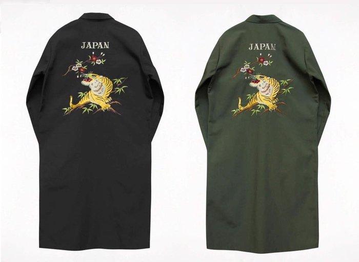 { POISON } KYOTO STREET 東洋龍虎刺繡 工作斜紋布面料大衣