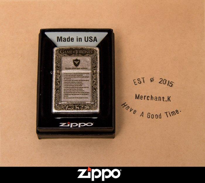 Zippo 打火機 權力遊戲 冰與火之歌 古銀做舊版 煤油 防風 菸友必備 經典小物 美國原廠 經典復刻版