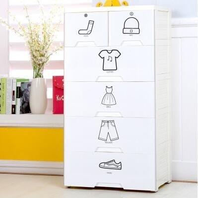 『格倫雅』加厚抽屜式收納櫃五層寶寶塑膠嬰兒童儲物櫃衣櫃簡易鞋櫃五鬥櫃子^3674