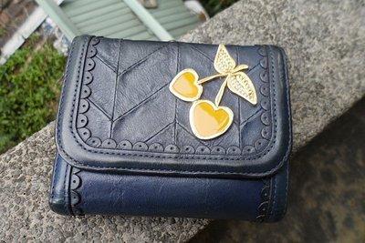 Anna sui安娜蘇專櫃正品水鑽櫻桃系列質感藍牛皮三折中夾皮夾  珠扣式零錢夾