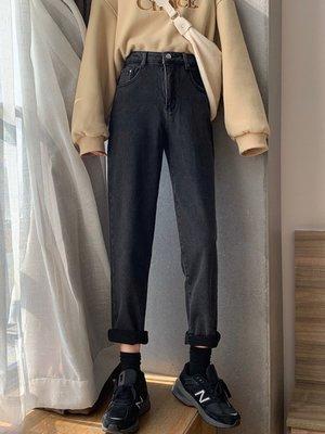 寬松百搭煙管直筒褲2020春季新款韓版黑色褲子高腰顯瘦牛仔褲女潮