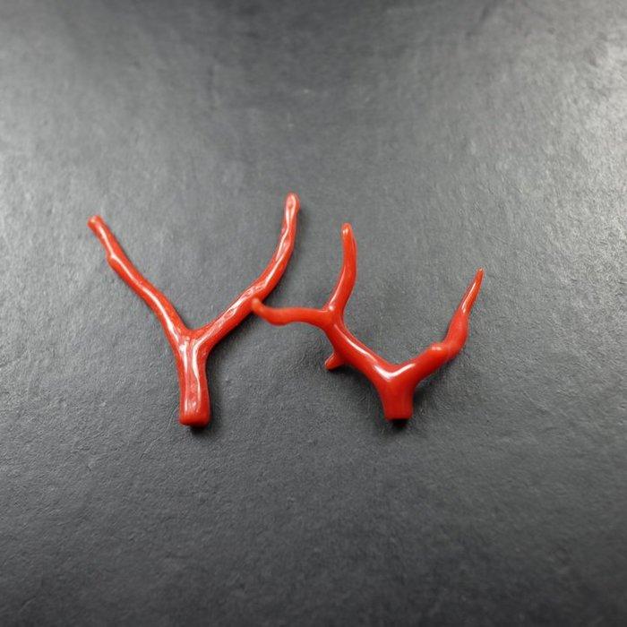 聚寶閣 天然紅寶枝 佩飾 一對 古董古玩 bfzg-1090