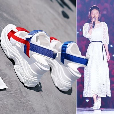 Fashion*內增高涼鞋 學生夏新款厚底松糕鞋 百搭韓版網紅坡跟魚嘴鞋子