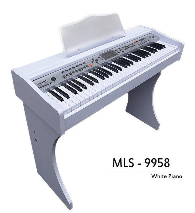 【奇歌】冬季夢幻新款!象牙白木紋電鋼琴►MP3播放+麥克風自彈自唱,61 國際標準厚鍵,內建延音,非電子琴音9958