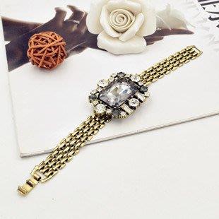 時尚復古大水晶镶钻錶帶手鍊