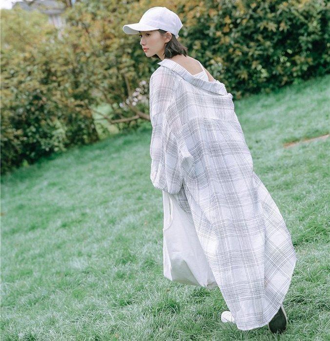 SEYES  街頭涼爽自然風防曬基本款格紋長版襯衫/罩衫