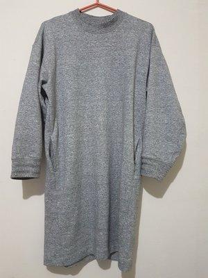 UNIQLO寬鬆長袖過膝有口袋連身棉裙(暖灰色,尺寸M)孕婦可穿