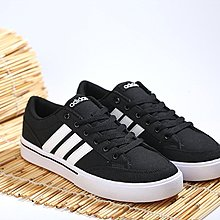 D-BOX ADIDAS neo GVP CVS 黑色 白線 經典百搭 休閑帆布鞋 慢跑鞋