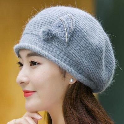 春季上新 2018新款秋冬季女士潮加厚保暖兔毛線加絨冬天時尚針織棉貝雷帽子