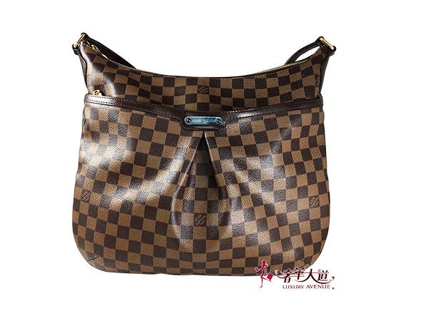 *奢華大道國際精品*【L2764】Louis Vuitton 棋盤格 BLOOMSBURY 皺摺斜背包(GM)