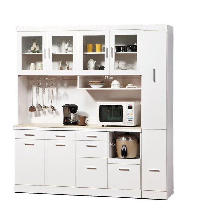 【H&D DESIGN】碗盤櫃 餐具架 凱利白色6.3尺石面碗盤櫃組(SP275-1)