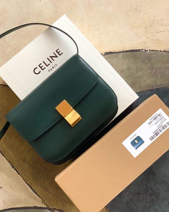 Melia 米莉亞代購 19ss Celine 復古銅釦 肩背斜背包 小方包 晚宴包 大容量 別錯過 綠色