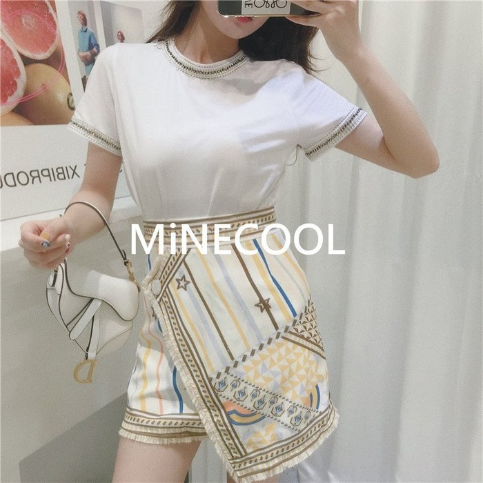 MiNE SHOP韓國 M9621-5實拍 高腰民族風半身裙套裝 圖色 SM