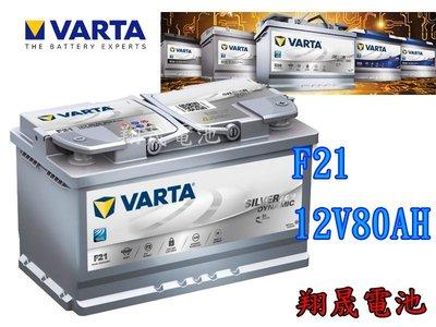 彰化員林翔晟電池  德國華達VARTA AGM汽車電池 F21 80AH 58015  舊品強制回收 工資另計