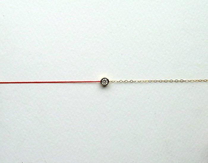 [Le Bonheur Line] 幸福線 手工/ 半鏈半繩 金色 圓包鑲/ 紅線 手鍊 招桃花 redline(龍蝦扣