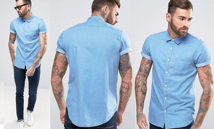 ◎美國代買◎ASOS代買口袋裝飾反摺袖口經典藍刷色合身短袖牛仔襯衫上衣~歐美街風~大尺碼