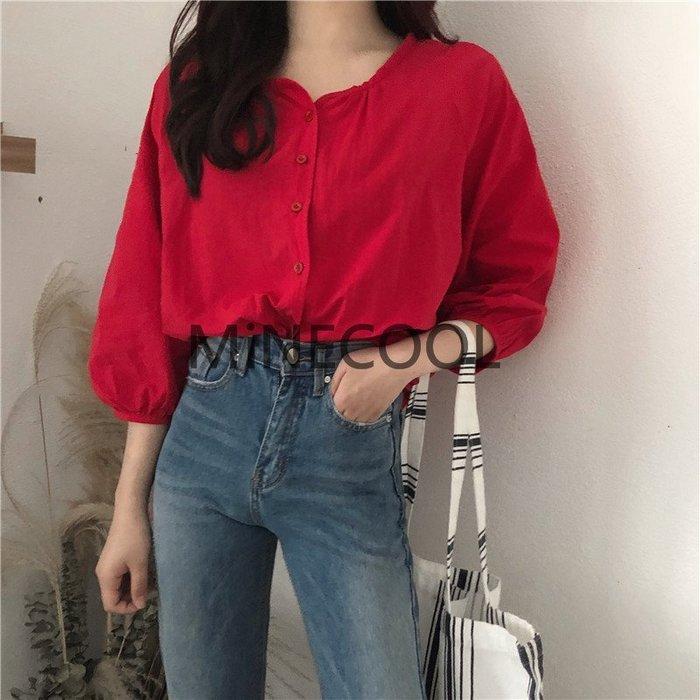 MiNE SHOP韓版復古燈籠袖襯衣0514-18三色 紅色現貨