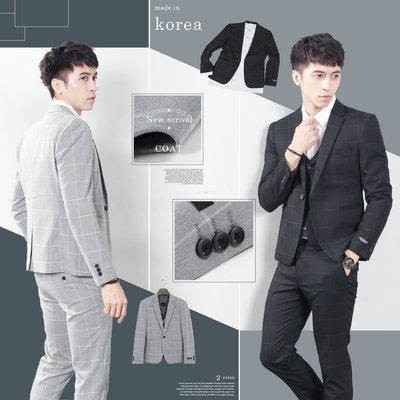。SW。【K31180】免運 正韓MR 韓國製 修身顯瘦 質感 彈性西裝布 窄版 雅痞紳士 格子 西裝外套