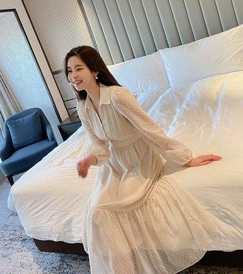 韓國製 春裝 高質感 點點雪紡洋裝 鑽...