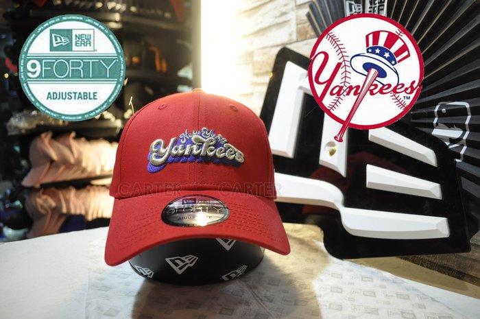 New Era x MLB NY Yankees 9Forty Red 紐約洋基1972草寫塗鴉style紅色940彎帽
