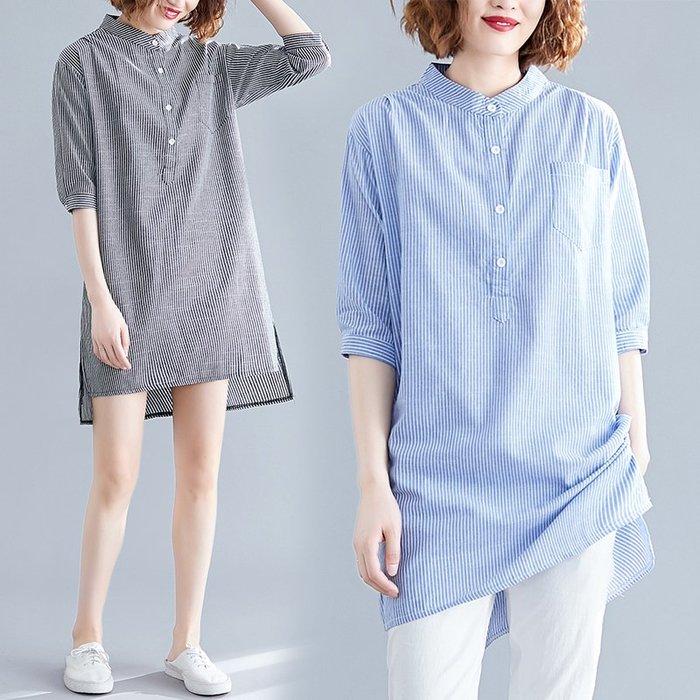 [C.M.平價精品館]新品上架特價/L~2XL帥氣有型簡約襯衫立領直條紋半袖長版上衣/洋裝