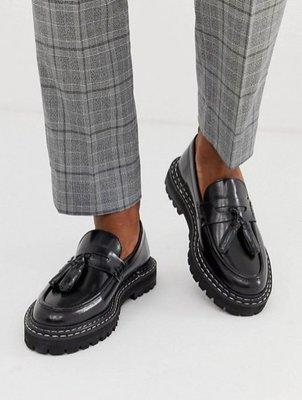 ◎美國代買◎ASOS雙車線搭配齒輪鞋底流蘇裝飾鞋底英倫時尚街風流蘇龐克風平底皮鞋~歐美時尚~大尺碼