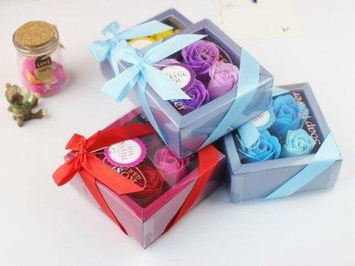 方形禮盒玫瑰香皂花 玫瑰花/肥皂/禮品/禮物/情人節/香氛四入