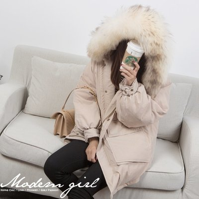 Modem Girl♥100%實拍 韓國連線 正韓 浣熊大毛領 90%白鵝羽絨保暖外套 (兩色-特價)