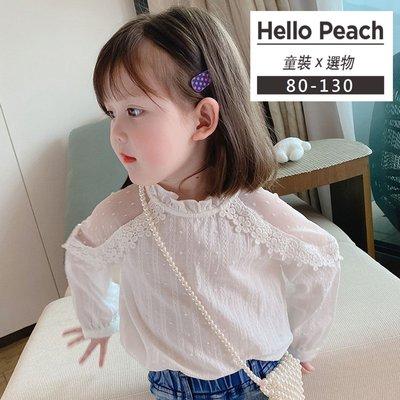 浪漫甜美感 蕾絲拼接花邊袖上衣 長袖上衣 女童裝 Hello Peach