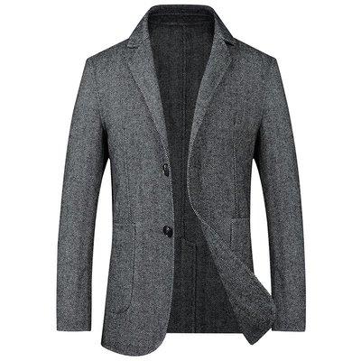 毛呢大衣 西裝外套-翻領修身休閒中長款男外套2色73wk10[獨家進口][米蘭精品]