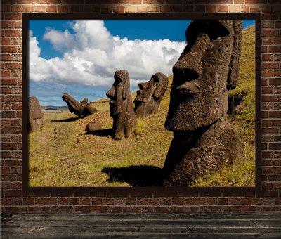 風景裝飾畫南美洲熱帶雨林智利復活節島旅行海報貼畫聖地亞哥掛畫