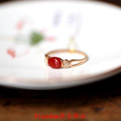 Freedom`原音飾品自然之靈·拾陸。深海寶石戒指18k玫瑰金鉆石戒赤色簡約小巧證書