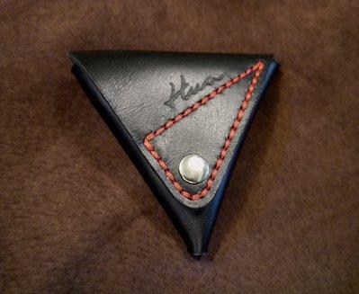 (KH台中手件工作室)純手作皮三角造型零錢包.專人打版縫製牛.男女皆可適用最佳禮品.配色可自選可燙字