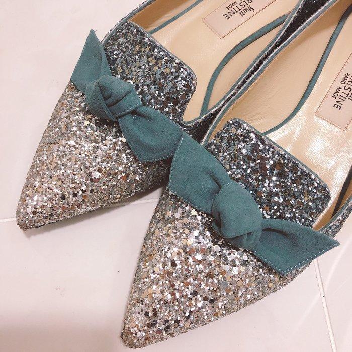 NETSHOP collection 少女款冰雪奇緣閃亮亮小羊皮軟皮蝴蝶結平底鞋 便鞋