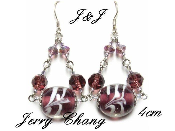 J&J精品~快樂平衡~深紫螺旋琉璃水晶耳環