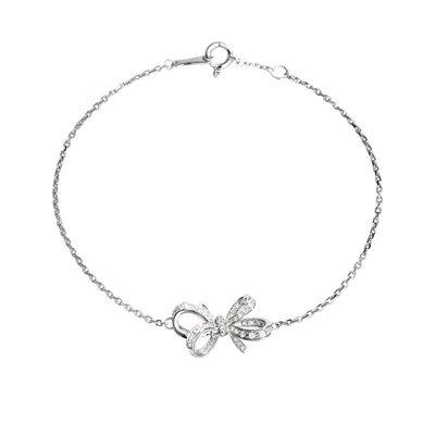 輕珠寶訂製18K金立體蝴蝶結鑽石手鍊手環手鏈 tiffany 風格 另有耳環 項鍊