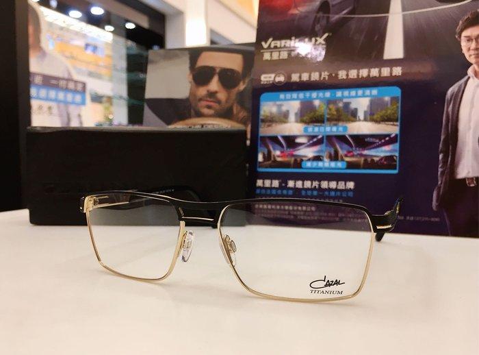 精光堂眼鏡 CAZAL 德國手工框 雙槓黑金雙色鈦金屬材質設計 獨特的設計 前衛的風格 7066