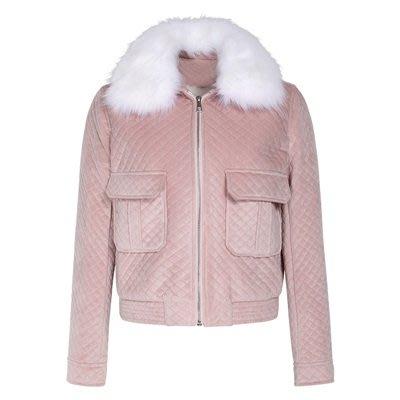 毛呢 外套 短版夾克-仿狐狸毛毛領粉色時尚女外套73ui11[獨家進口][米蘭精品]