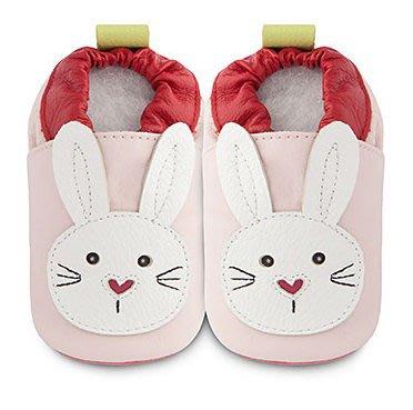【愛寶貝】英國 shooshoos 健康無毒真皮手工學步鞋/嬰兒鞋/室內保暖鞋_淡粉/白色小兔(公司貨)