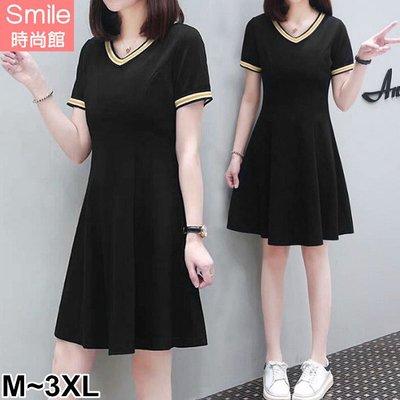 【V3112】SMILE-夏日風情.條紋配色V領短袖連身裙