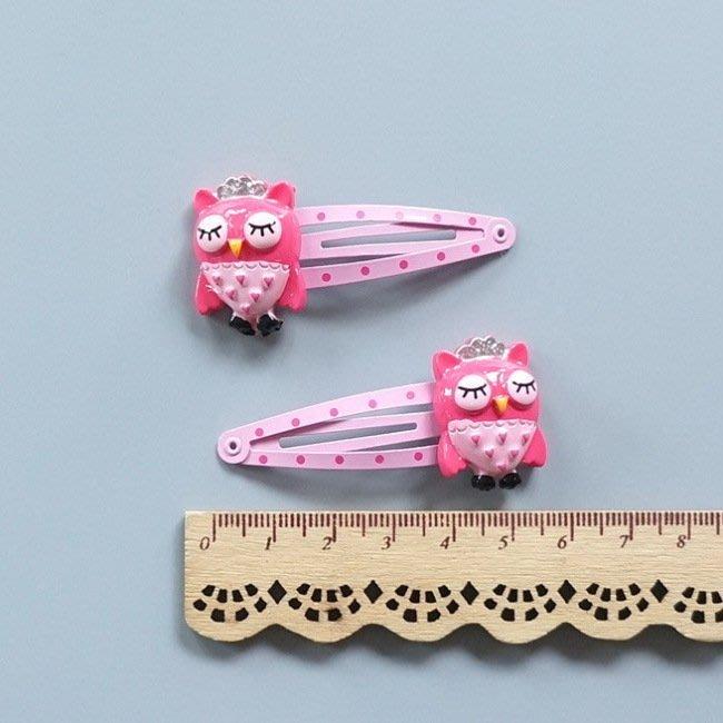 ☆草莓花園☆C166兒童髮飾 粉色貓頭鷹髮夾 兒童髮夾   拍照攝影 頭飾髮飾