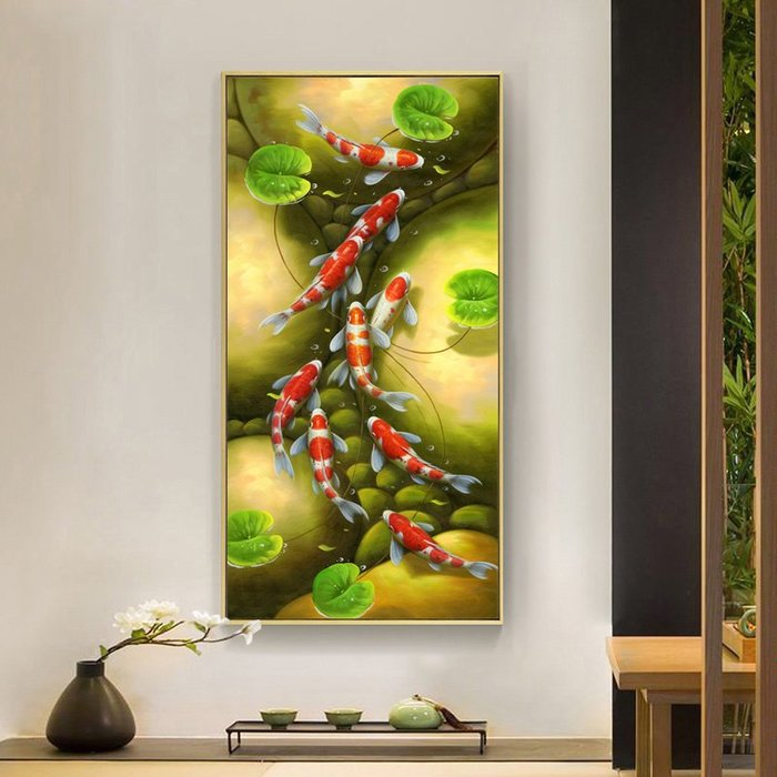新中式風景九魚圖國畫裝飾畫畫心清趣連年有魚玄關