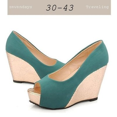 大尺碼女鞋小尺碼女鞋新款魚口百搭楔型跟鞋厚底鞋三色綠色(30-43小尺碼大尺碼)現貨#七日旅行