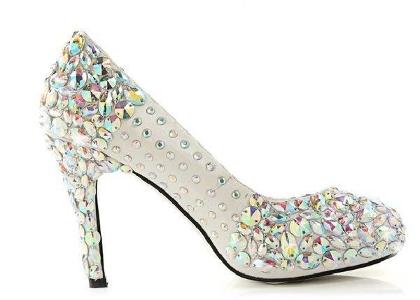 寶石水鑽鞋 新款手工 婚鞋 特殊定製鞋 人氣新娘鞋 貨號:605545 特價3600元