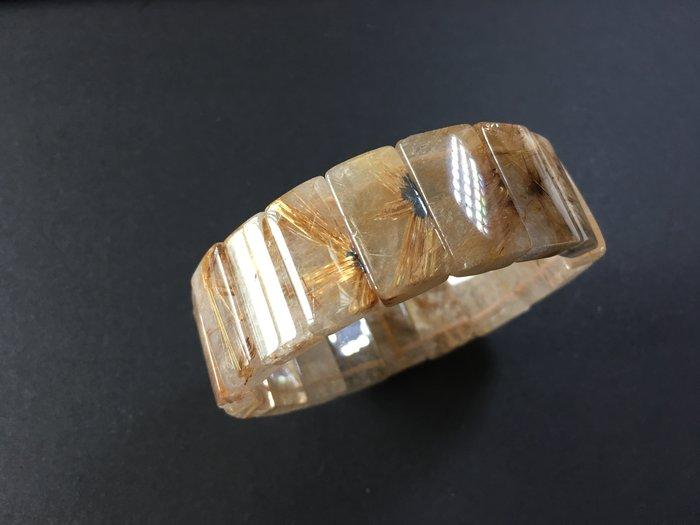 *藏雅軒*能量珠寶水晶之王-帶母礦紅銅鈦鈦晶手排-80g