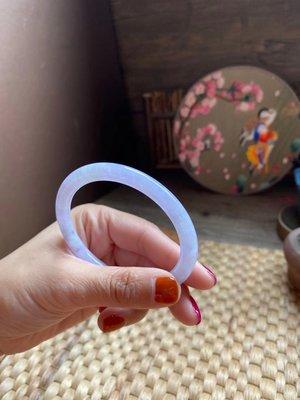 【劉家翡翠】清貨!56.5紫羅蘭烏雞小圓條 翡翠手鐲